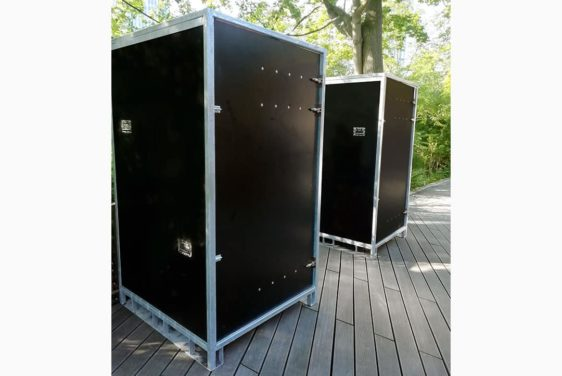 mobile lockers in a steel cage